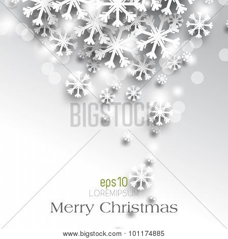 eps10 vector overlapping white paper Christmas snowflakes winter season holiday leaflet brochure background illustration