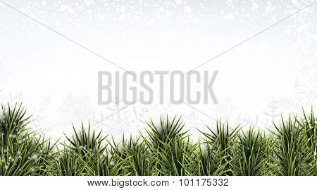 Winter abstract banner with spruce twigs. Christmas vector wallpaper with place for text. Eps10.