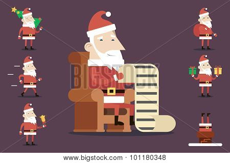 Santa Claus Cartoon Characters Set Poses Emotions Accessories Tree Bell Gifts List Christmas New Year Icons Stylish Background Flat Design Vector Illustration poster