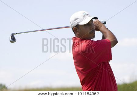 PARIS FRANCE, 03 JULY 2009. Jeev Milkha Singh (IND) competing in the 2nd round of the PGA European Tour Open de France golf tournament.