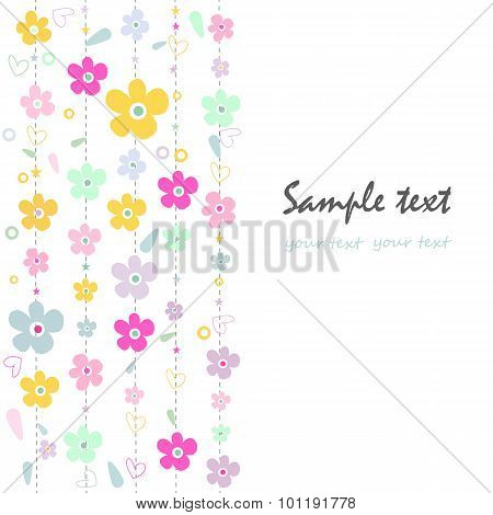 Colorful Fowers Decorative Abstract Greeting Card.eps