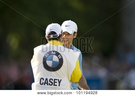 WENTWORTH, ENGLAND. 24 MAY 2009.Paul Casey and his caddy after winning the European Tour BMW PGA Championship.