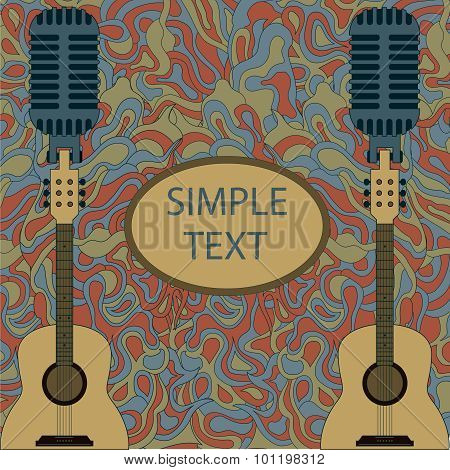 guitar zentangle with frame. vector illustration