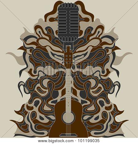 guitar zentangle. vector illustration