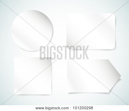 Form blank illustration. Paper sheet template isolated vector objects. Paper, printer, white, clean, stickers, arrow, circle, blank, forms, circle, square