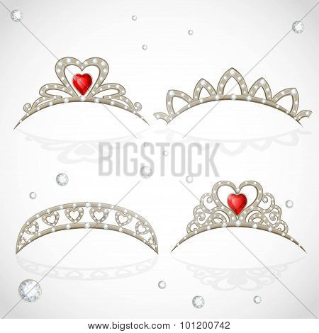 Openwork Jewelry Tiaras With Diamonds And Faceted Red Stones In A Heart Shape Isolated On White Back