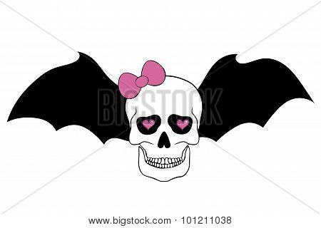 Skull With Pink Bow, Bat Wings And Hearts In An Eye Sockets