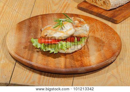 Toast, Toast Bread, Grilled Turkey Escalope, Tomato, Lettuce, Rosemary