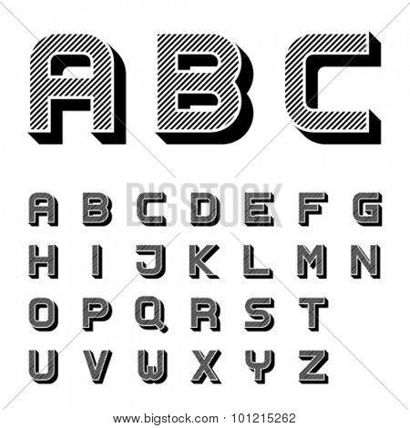 vector 3D black striped font alphabet letters