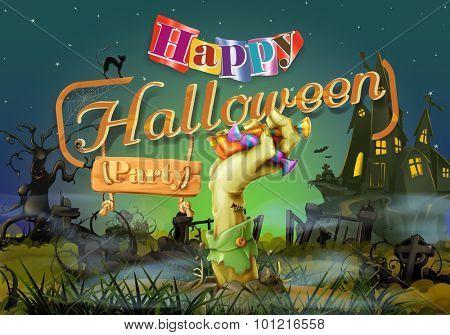 Happy Halloween party, zombie vector background