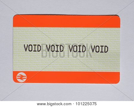 LONDON UK - AUGUST 19 2015: void void void void blank train ticket of the National Railways