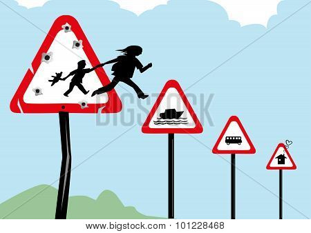 Refugee escaping their war town country and seeking asylum. Editable Clip Art.