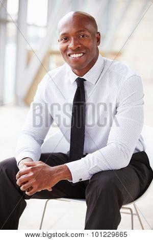 African American corporate businessman, vertical portrait