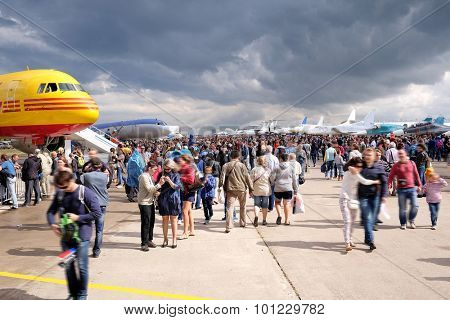 Zhukovsky, Moscow region, Russia, August, 29, 2015: Bad weather didn't prevent fans of aircraft to arrive on Moscow International Avia-Space salon in Zhukovsky, the Moscow region, Russia