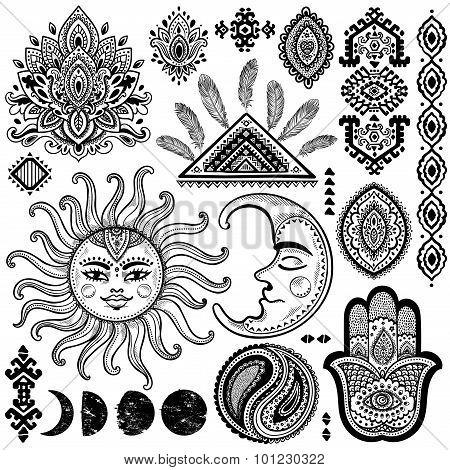 Sun, moon and ornaments vintage vector set