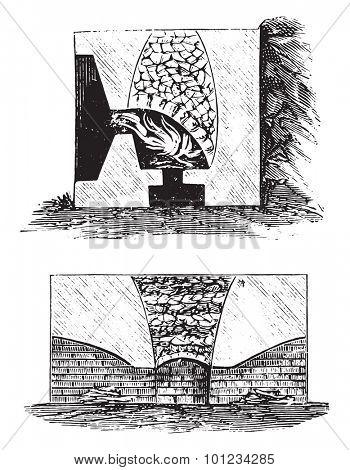Lime kilns, vintage engraved illustration.