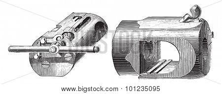 Breech mechanism helical-prismatic wedge (Krupp System), vintage engraved illustration. Industrial encyclopedia E.-O. Lami - 1875.