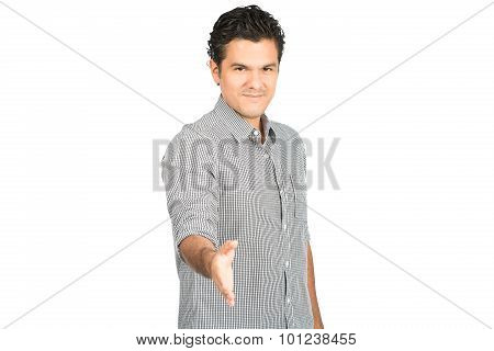 Offering Handshake Smiling Hispanic Man At H