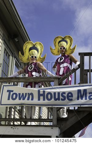 People walking in the 37th Annual Provincetown Carnival Parade in Provincetown, Massachusetts.