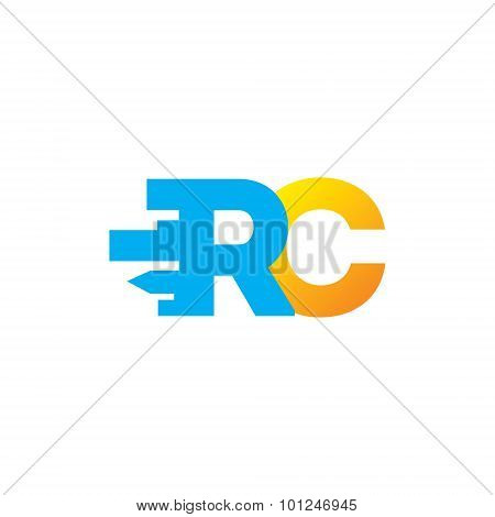Sign of the letter R and C. Design template Isolated on a white background
