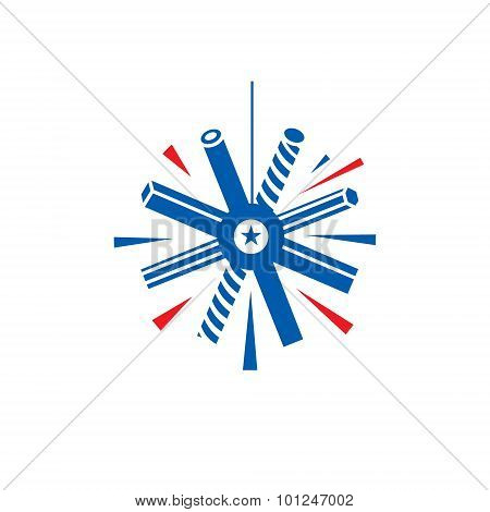 Metal Snowflake Vector Sign