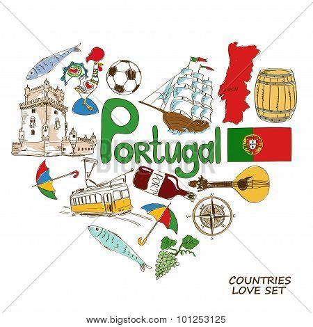 Portuguese Symbols In Heart Shape Concept.