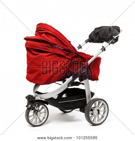 red baby stroller isolated on white