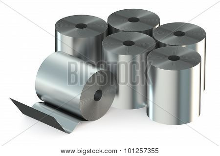 Stainless Steel Coils closeup isolated on white background poster