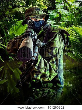 Czech Airsoft Soldier With M4A1 In Jungle, Abstract