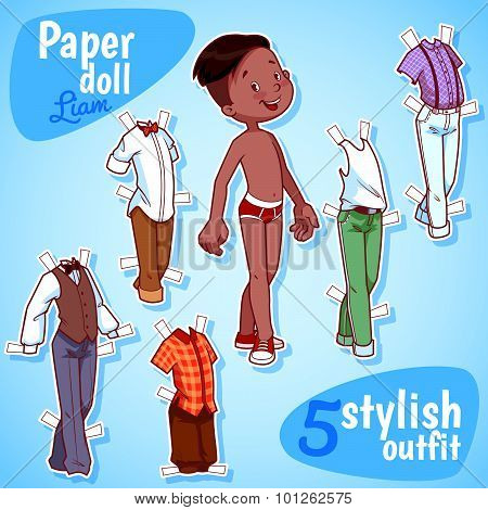 Very Cute Paper Doll With Five Stylish Outfits. Brunet Boy. Vector Illustration On A White Backgroun