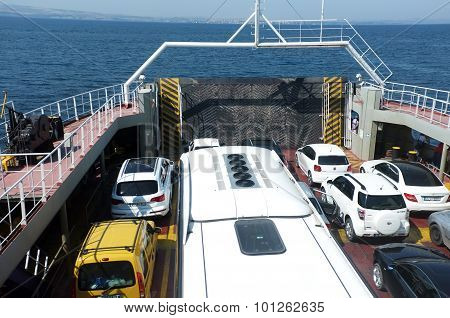 Cars on ferryboat