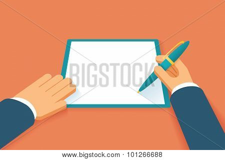 Hands sign contract. Agreement paper document, petition or pact, agree license, legal paperwork, vector illustration poster