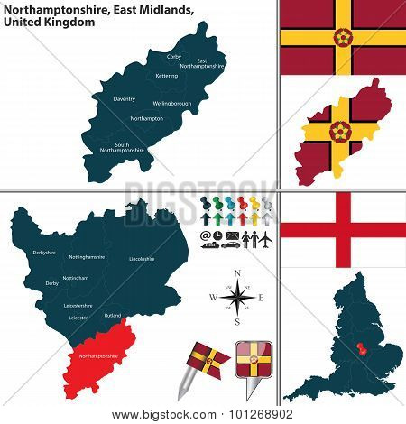Vector map of Northamptonshire in East Midlands United Kingdom with regions and flags poster