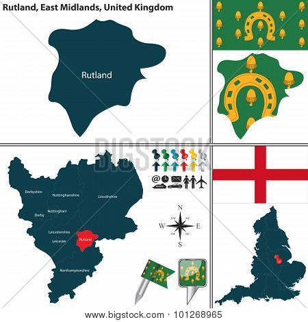 Vector map of Rutland in East Midlands United Kingdom with regions and flags poster