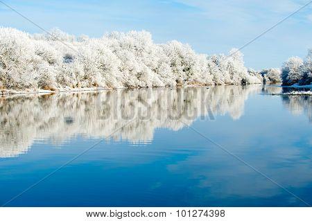 Riverbank Winter Landscape