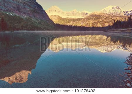 Bowman lake in Glacier National Park, Montana, USA