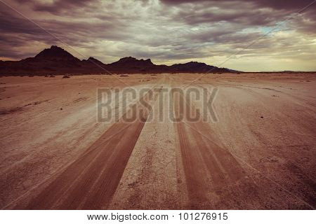 road in Bonneville salt desert. Dramatic view. Utah.