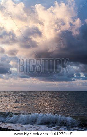Batumi, Adjara, Georgia - September 1, 2015: Scenic Sunset Over The Black Sea