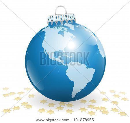 Xmas Ball America Planet Earth Stars