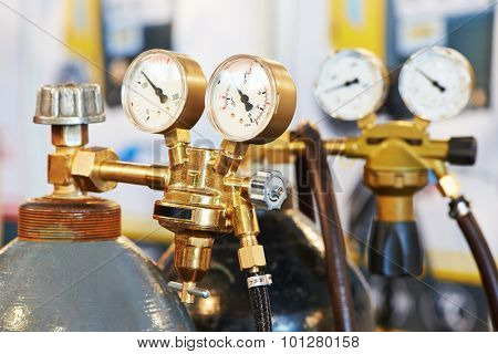 welding equipment acetylene gas cylinder tank with gauge regulators manometers poster