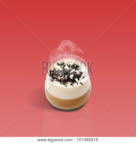 Cup Of Glace Coffee On Red Background