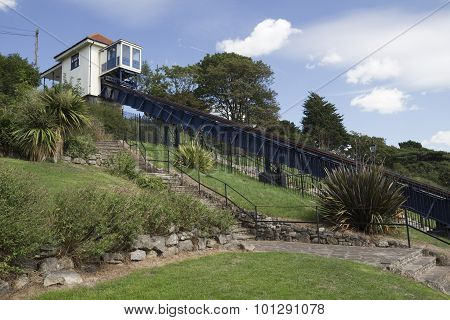 Victorian cliff lift and gardens at Southend-on-Sea Essex England poster