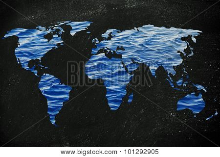 concept of saving water and caring about the environment: surreal map of the world with sea pattern inside continents poster