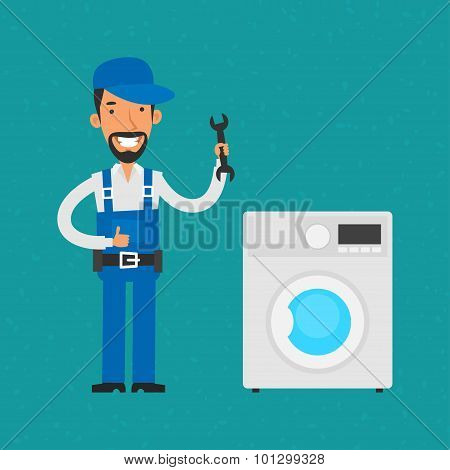 Repairman repairing household appliances