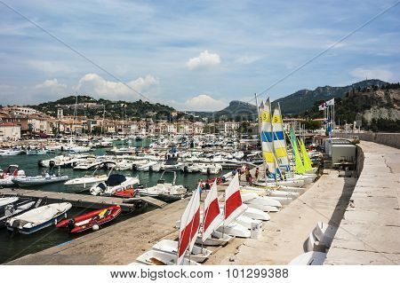 Cassis Harbour, Cassis France 13th August 2012.