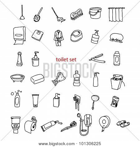 Illustration Vector Hand Drawn Doodles Of Objects In Toilet Set.