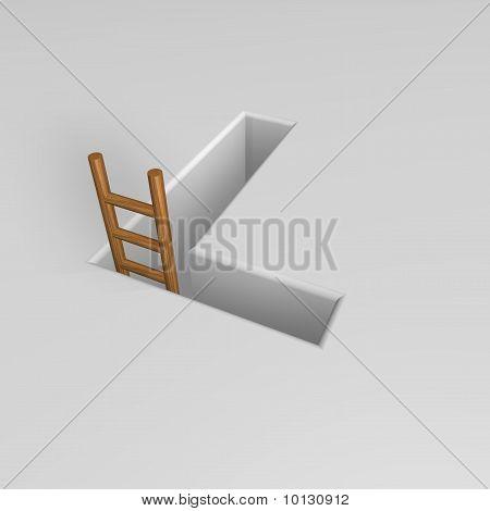 Písmeno L a žebřík