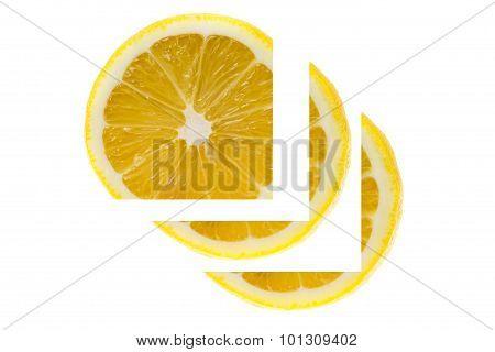 yellow Lemon slice on white background.