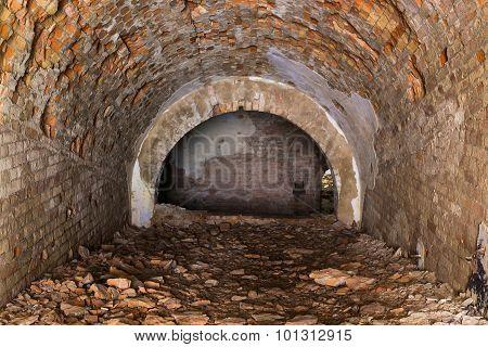 Ruins  Inside  Fort Tarakanovskiy. Casemates .  Dubno. Ukraine.