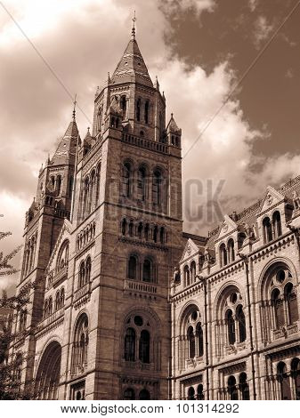 The Natural History Museum built between 1873-80 located on Exhibition Road in Kensington London England UK, which is renowned for its collection of dinosaur fossils poster